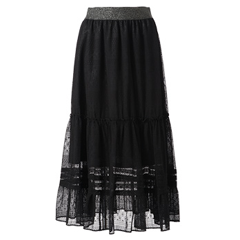 STRETCHY LACE SHEER LONG SKIRT スカート