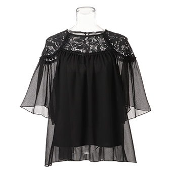 CRINKLE CHIFFON w LACE ブラウス  詳細画像