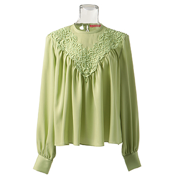 SOLID CHIFFON WITH LACE ブラウス