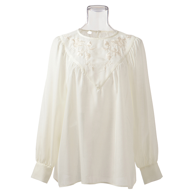 VOLUME BLOUSE WITH EMB ブラウス 詳細画像 ホワイト 1