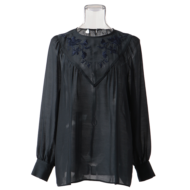 VOLUME BLOUSE WITH EMB ブラウス 詳細画像 ブルー 1